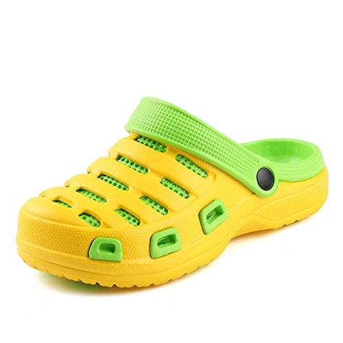 gracosy Women's Summer Mule Clogs Shoes Hole Sandals, Casual Slippers, Outdoor Indoor Walking Garden Clog Shoes Breathable Beach Hollow Out Footwear Slip-on Anti-Slip Closed Toe Shoes Yellow