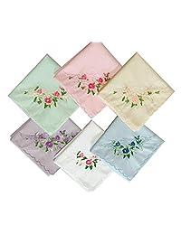 """Forlisea Ladies Soft Flower Embroidered 100% Premium 60s Cotton Wendding Party Handkerchiefs 17x17"""""""