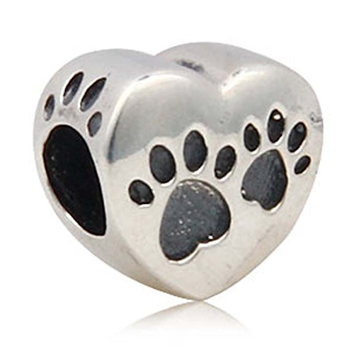 Dog Paw Print Heart Charm 925 Sterling Silver Animal Pet Bead for Bracelet