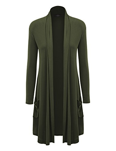 MBJ WSK1177 Womens Solid Long Cardigan with Pockets S OLIVE