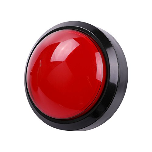 Easyget 5v 100mm Dome Shaped Jumbo LED Illuminated Self-resetting Push Button Switch for Arcade Game Projects, Pop'n Music DIY Projects & Mame DIY Projects Red Color