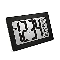 Marathon New Introductory Price CL030068BK-BS Atomic Self-Setting Self-Adjusting Wall Clock with Stand & 8 timezones - Batteries Included (Black Frame/Black Stainless Finish Slim Bezel)