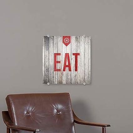 Nautical Wood Premium Brushed Aluminum Sign Eat CGSignLab 16x16 5-Pack