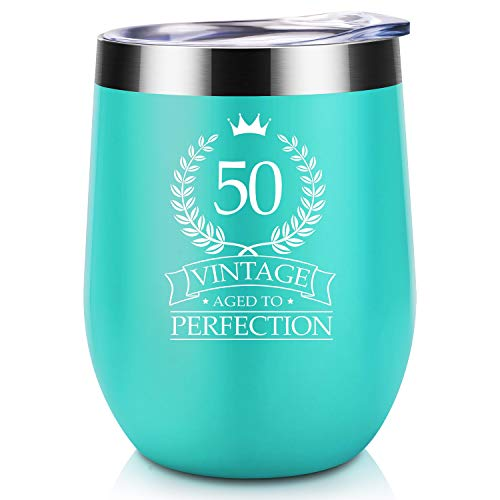 50th Birthday Gifts for Women Men | Vintage Aged to Perfection | Coolife 12 oz Stainless Steel Insulated Wine Tumbler Cup | Unique Anniversary Gift for Her, Him, Husband, Wife, Mint