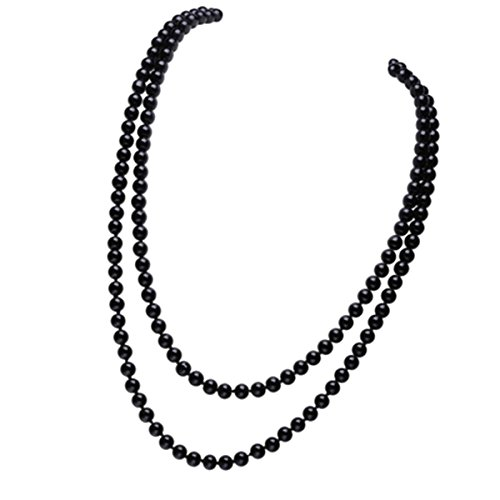 BESTOYARD Pearl Bead Necklaces 60' Fashion Faux Pearls Long Pearl Necklace (Black)