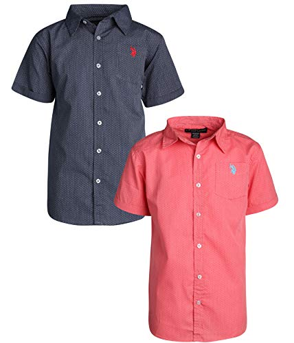 - U.S. Polo Assn. Boy\\\'s Short Sleeve Woven Shirt (2 Pack) Coral/Navy Dots, Size 10/12'