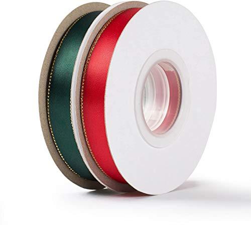 공예품 용 새틴 리본 선물 포장용 리본 금색 가장자리가있는 빨강 및 녹색 패브릭 리본 5 | 8 인치 X25 야드 2 롤
