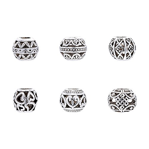 Pandahall 100pcs Tibetan Style Antique Silver Zinc Alloy Hollow European Beads Large Hole Spacer Charms Mixed Pattern Lead Free Nickel Free Jewelry Making