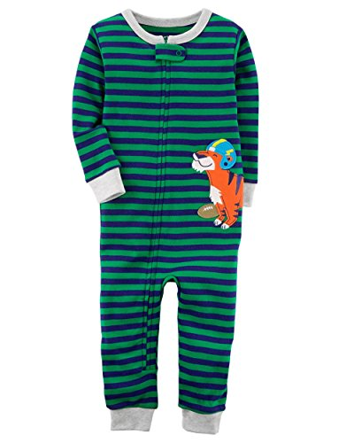 Carter's Baby Boys' 1-Piece Snug Fit Footless Cotton Pajamas (18 Months, Football Tiger)