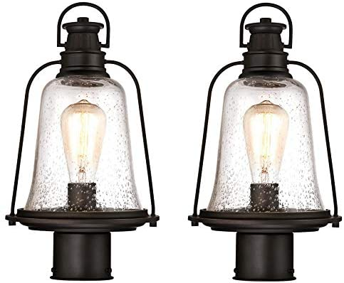 Westinghouse Brynn One-Light Outdoor Wall Fixture, Oil Rubbed Bronze Finish with Highlights and Clear Seeded Glass Outdoor Post 2 Pack