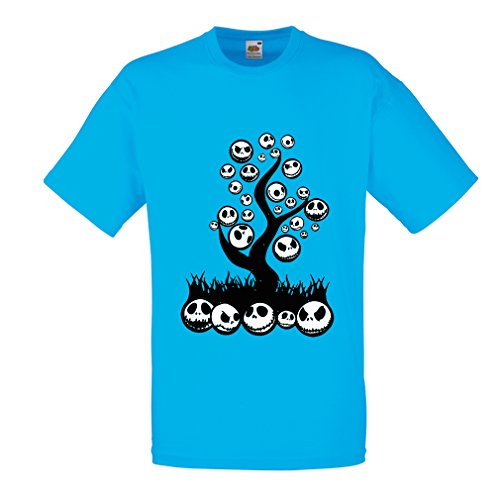 T shirts for men The nightmare tree - Halloween party outfit (Medium Blue Multi Color) (Halloween Qutoes)