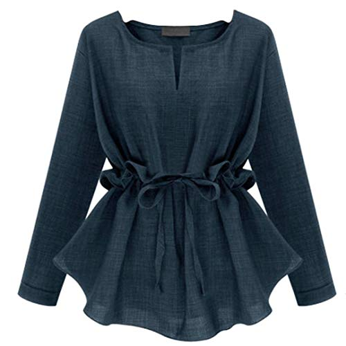 ��️Womens Casual Strappy Shirt Fashion Plus Size Solid Color Blouse Long Sleeve Fold Sashes Tops ()