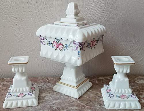 Wedding Bowl & Pair of Candlestick Holders - Milk Glass Handpainted - USA - Original Westmoreland Glass