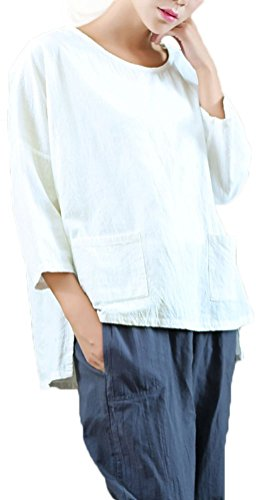 Soojun Women's Essential Casual Loose Solid Cotton Linen Tops Blouses 1 White (Linen Blouse White)