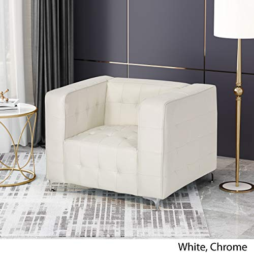 Laura Modern Glam Leather Cube Club Chair, White and Chrome - 3