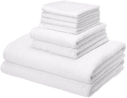 AmazonBasics Quick-Dry Towels - 100% Cotton, 8-Piece Set, White
