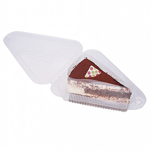 QQ Studio 50x Triangle To-Go Take-Home Plastic Boxes for Fruit Pie Cake Tart Slices Wedges 4in Length