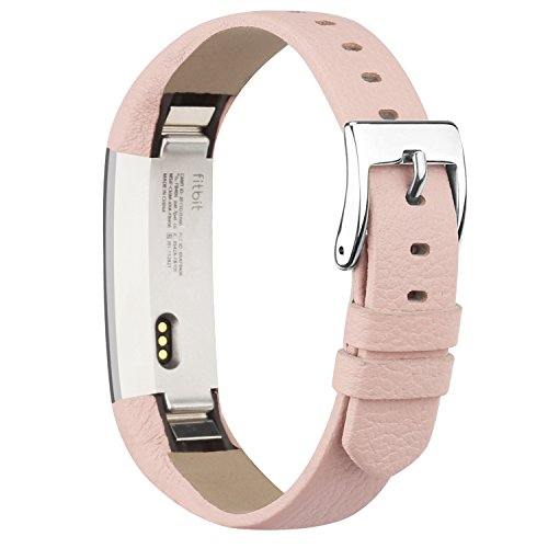 Vancle Fitbit Alta (HR) Band / Fitbit Alta HR 2017 Leather Wristband Adjustable Replacement Accessories Strap with Buckle for Fit bit Alta (Pink)