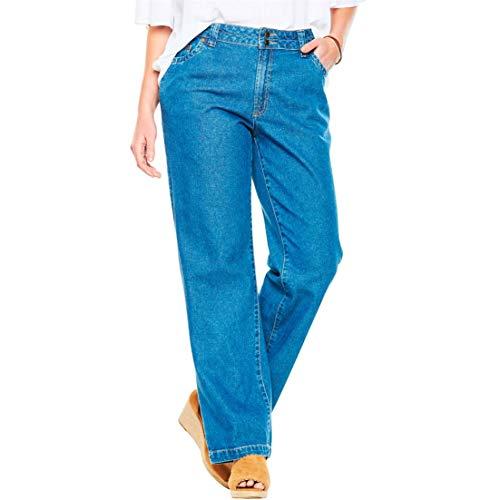 (Woman Within Women's Plus Size Tall Wide Leg Cotton Jean - Medium Stonewash, 22)