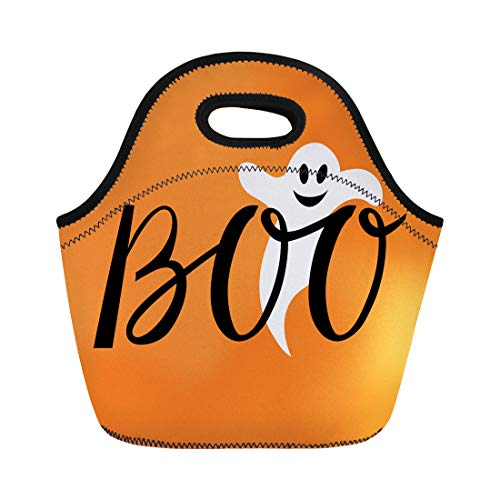 Semtomn Lunch Tote Bag Apparition Boo Modern Inscription