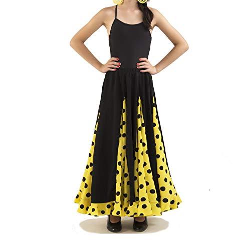 Anuka Conjunto de niña para Danza Flamenco o sevillanas. Dos Piezas, Body Tirantes y