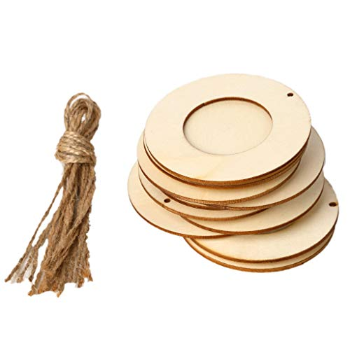 RGBIWCO - 10pcs/Set Wooden Mini Round Photo Frame Hanging Crafts DIY Handmade with Ropes Home Decoration Ornament -