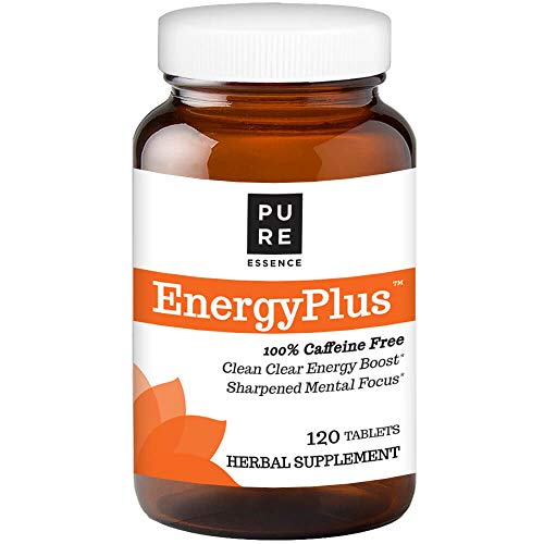 Pure Essence Labs Energy Plus, Caffeine Free, All Natural Herbal Energy and Focus Supplement, 120 Tablets ()