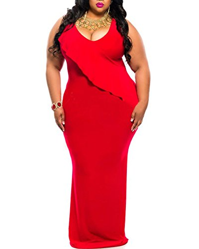 2fa744597f6 Lalagen Women s Ruched V Neck Plus Size Bodycon Long Evening Party Maxi  Dress