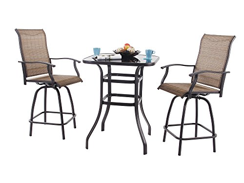 PHI VILLA Patio 3 PC Swivel Bar Sets Textilene High Bistro Sets, 2 Chairs and 1 Table, Brown (Outdoor Swivel Bar Chairs)