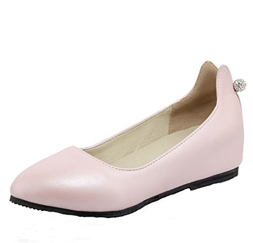 Easemax Womens Low Top Low Lift Tallone Scarpe A Punta Slip On Slip On Con Strass Rosa