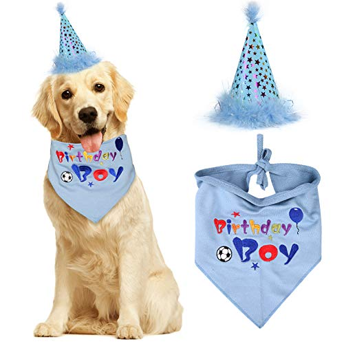 KZHAREEN Dog Birthday Bandana with Party Hat Pet Birthday Set Triangle Scarf Supplies Blue for Boy Dogs -