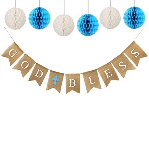 God Bless Banner Burlap with 6pcs Paper Honeycomb, Baptism Banner, Communion Party Banner Baptism Decorations for Wedding, Baby Shower