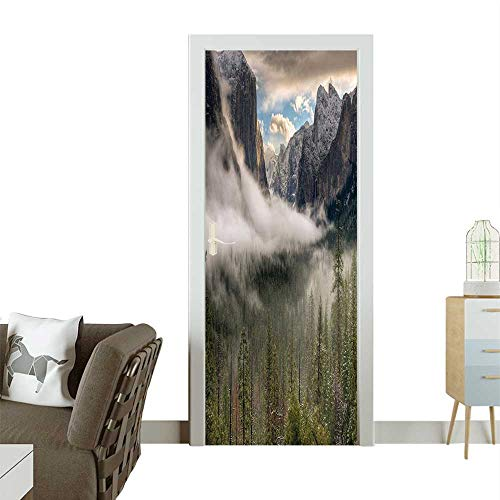 Door Sticker Wall Decals Sun Peaks Over The Sierras Its First Glimpse The Yosemite Valley in Easy to Peel and StickW38.5 x H79 INCH (Best Melodies In Tamil)