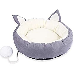 Clearance Christmas Pet Dog Cat Cushion House Soft Warm Kennel Dog Small Medium Round Indoor Mat Blanket (Gray, L)