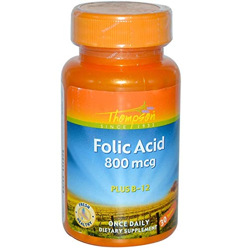 Folic 30 Tablets Acid (Thompson, Folic Acid, Plus B-12, 800 mcg, 30 Tablets)