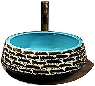 セラミック洗面台芸術の上カウンター盆地ラウンドレトロ洗面35CM小さな洗面台のバスルームシンクの洗面台