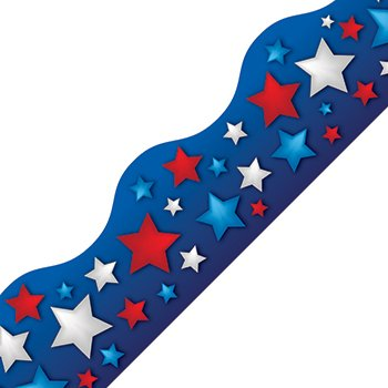 Edupress Patriotic Stars Scalloped Border Trim (Red White Blue Border)