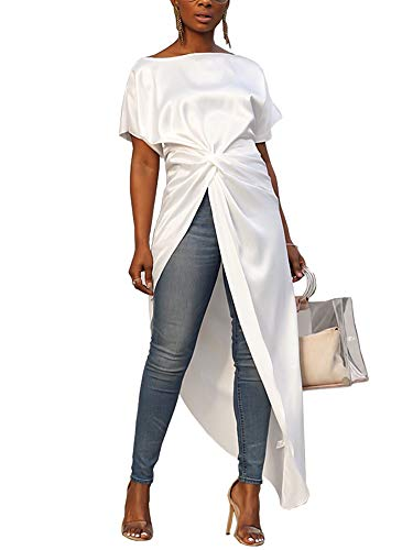 Women High Low Maxi Tops Short Sleeve Boat Neck Tie Knot High Split Front Long Shirt Pullover X-Large