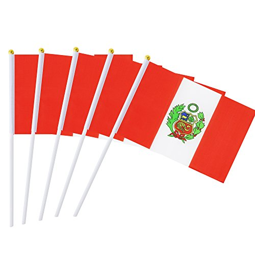 Kind Girl 25 Pack Hand Held Small Mini Flag Peru Flag Peruvian Flag Stick Flag Round Top National Country Flags,Party Decorations Supplies for Parades,World Cup,Festival Events,International Festival