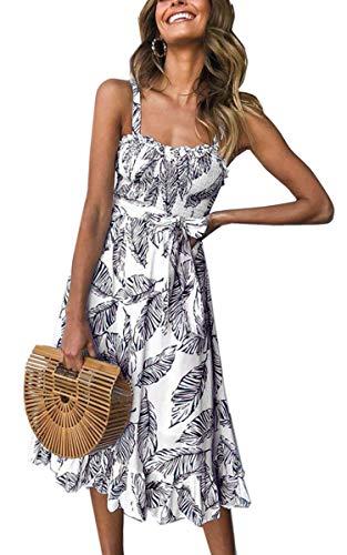 Angashion Women's Dresses - Summer Boho Floral Spaghetti Strap Belt Swing A line Midi Dress 121 Black XL