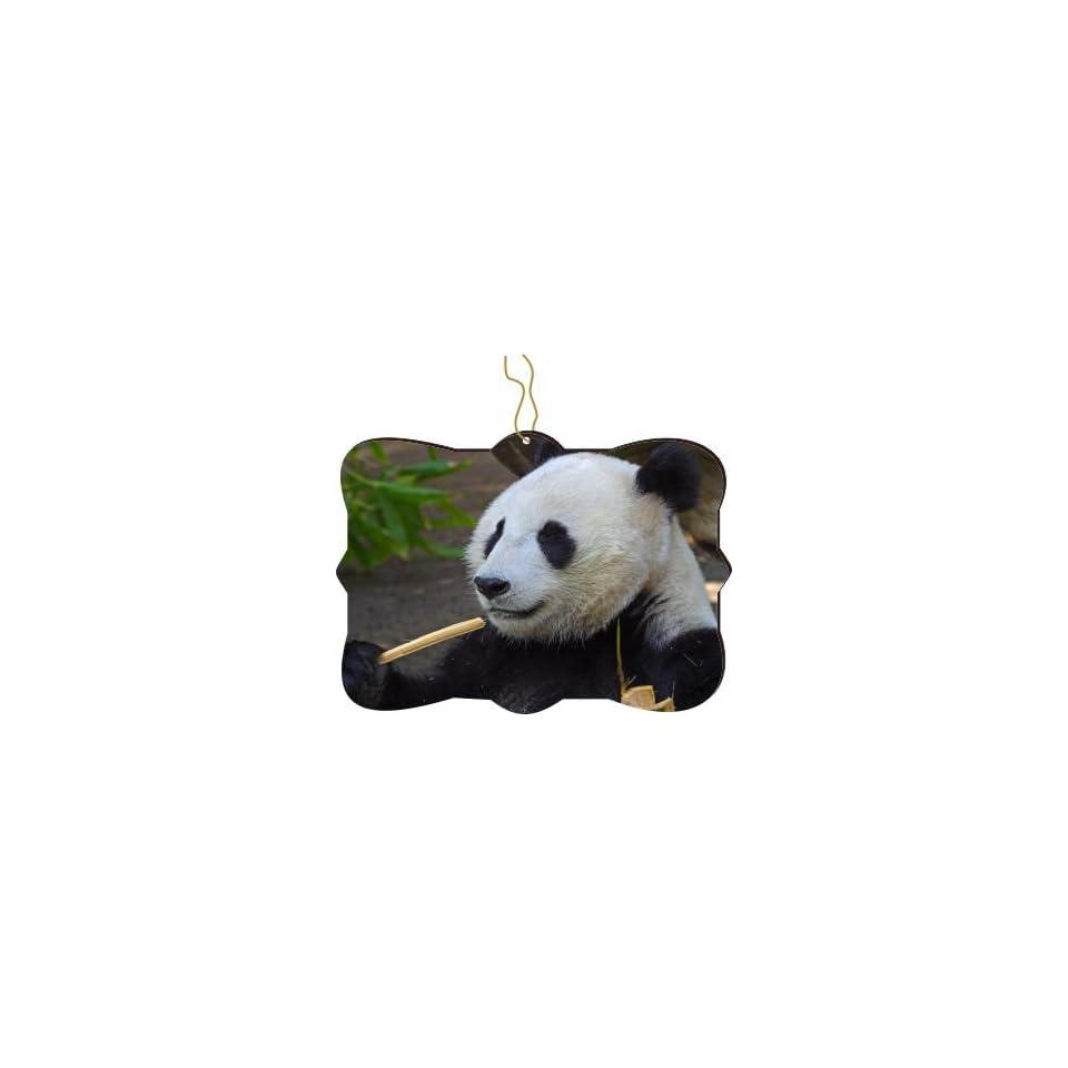 Rikki Knight RKWS SQORN 273 Christmas Tree Ornament / Car Rear View Mirror Hanger Panda Face Close Up Design