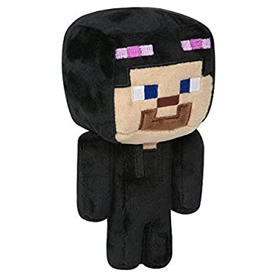 "JINX Minecraft Happy Explorer Steve in Enderman Costume Plush Stuffed Toy, Black/Purple, 7"" Tall"