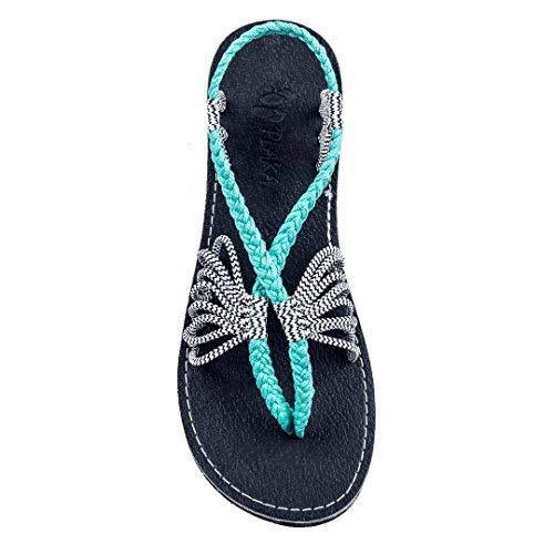 Plaka Flat Summer Sandals for Women Turquoise Zebra 8 Seashell
