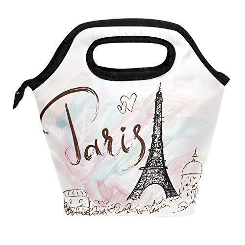 Wamika Fantastic Eiffel Tower Paris Romantic France Insulated Cooler Thermal Reusable Lunch Bags for School Children Students Girls Boys,Vintage Eiffel Tower England Style Lunch Box Bag Women Men]()
