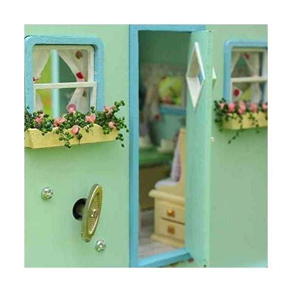 41t80e2D QL Puppenhaus Süß Haus DIY House mit Licht als Kinder Geschenk, 3D Holz Miniaturhaus Kit Kunsthandwerk Geschenk für…