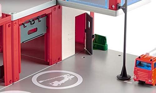 siku 5508, Feuerwache, Rot, Inkl. Aufkleber-Set, Hochwertiger Kunststoff, Mit Licht- und Soundeffekten, Inkl. Feuerwehrauto und Hubschrauber
