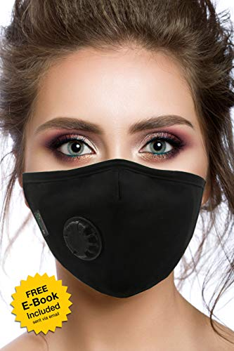 Best Air Pollution Face Mask with Filter and Respirator - Anti-Dust, Smoke, Gas, Allergies, Germs and Flu - Military Grade - Washable and Reusable - Supports Breathing Clean Air - N95 Protection -