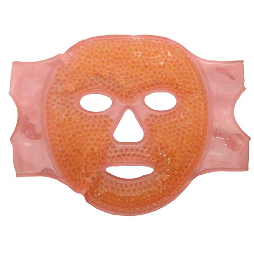 Facial Mask - Get Rid of Puffy Eyes - Migraine Relief, Sleeping, Travel Therapeutic Hot Cold Compress Pack - Gel Beads, Spa Therapy Wrap for Sinus Pressure Face Puffiness Headaches