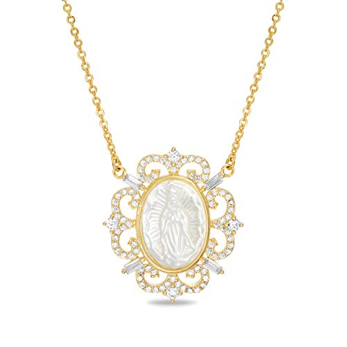 - MY BIBLE Carved Mother of Pearl and Cubic Zirconia Crown Border Mother Mary Pendant on 17.5