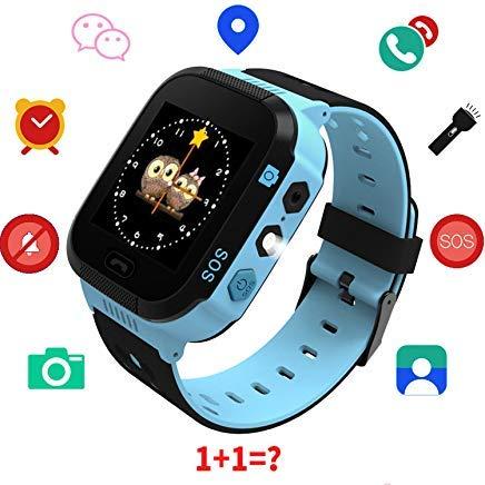 Kids Smart Watch GPS Tracker - Boys Girls Digital Watch Phone Wristband 2 Way Calling SOS Wechat Text Alarm Clock Camera Flashlight Learning Games Child Phone Watch for Children Age ()